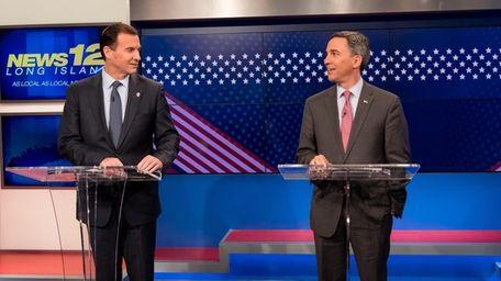 Third Congressional District rivals Democrat Tom Suozzi, left,