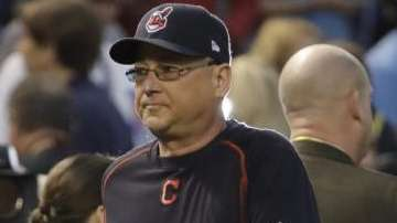 Cleveland Indians manager Terry Francona watches batting practice