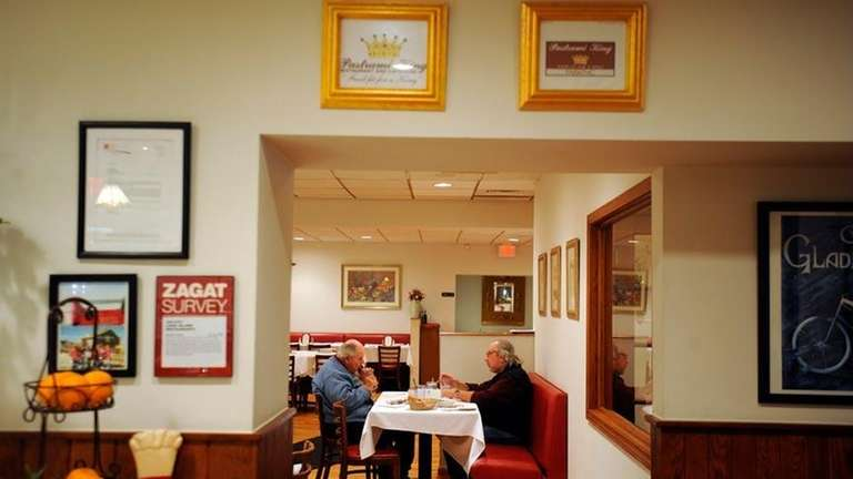 People are seen at The Pastrami King in