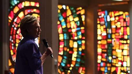 Hillary Clinton speaks during a prayer service at