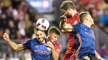 New York City FC defender Maxime Chanot (4),