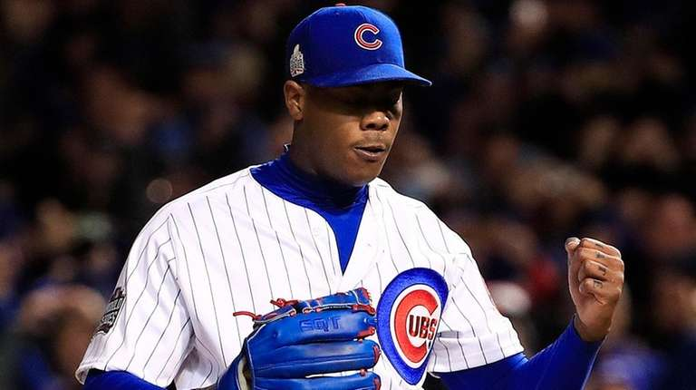 Aroldis Chapman comes off the mound after throwing