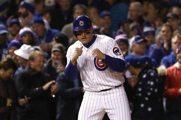 Anthony Rizzo of the Chicago Cubs reacts after