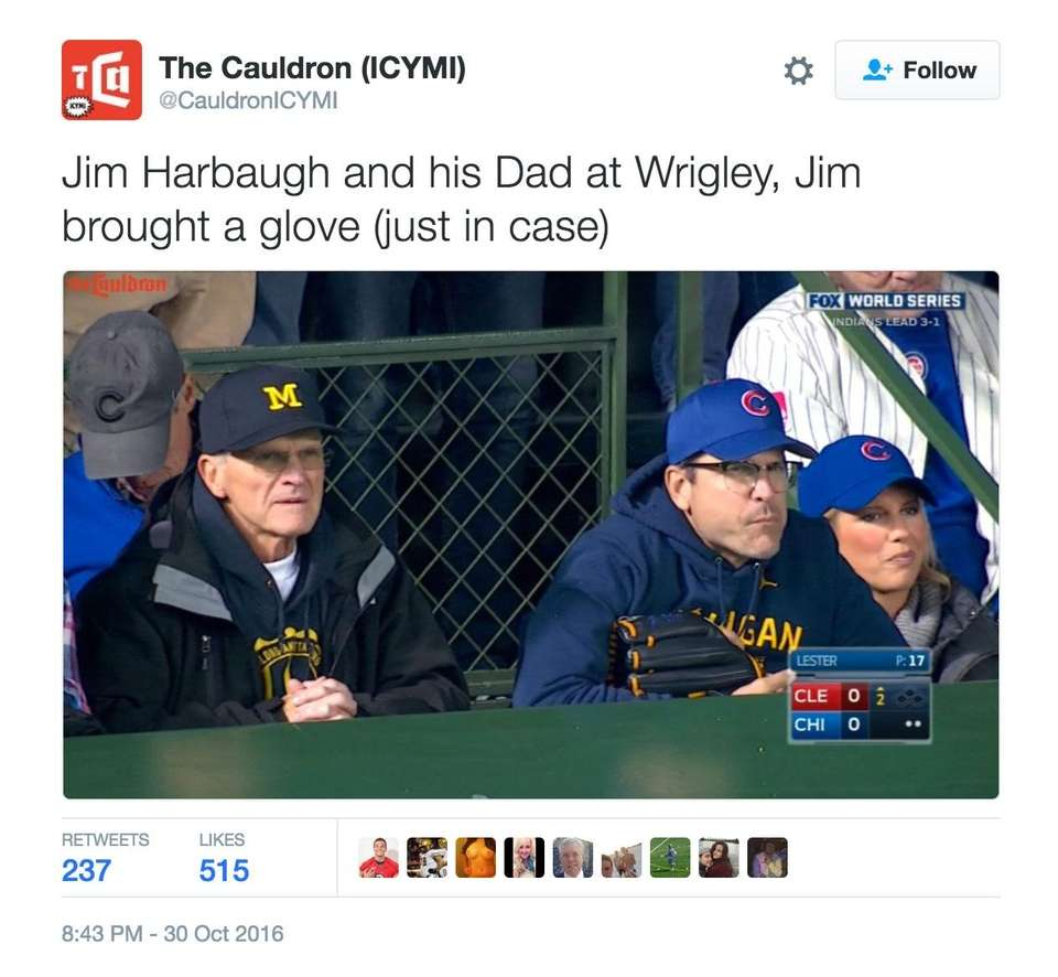 Harbaugh took in the Cubs' first victory in