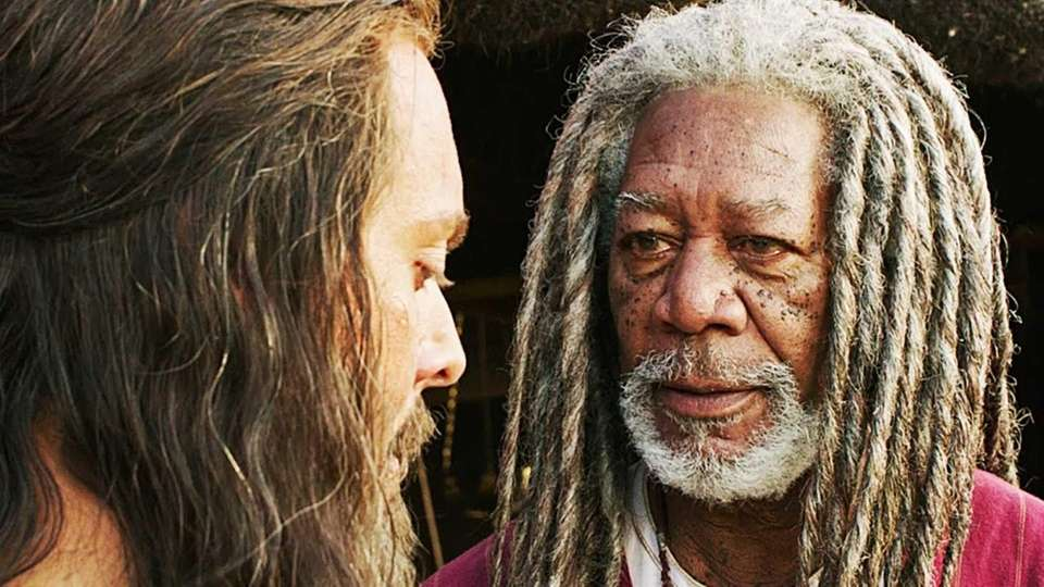 Jack Huston as Judah Ben-Hur, left, and Morgan