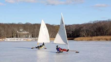 Ice boating on Great Pond in Southold.