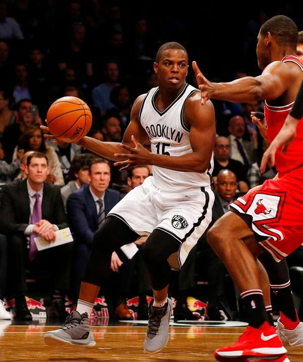 Isaiah Whitehead of the Brooklyn Nets controls the
