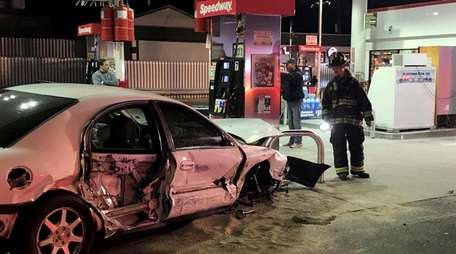 Firefighters respond to an auto accident Monday, Oct.