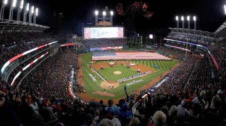 Fireworks are seen over Progressive Field before Game