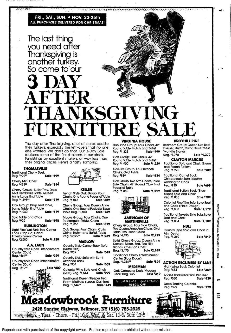 On Nov. 21, 1984, Meadowbrook Furniture in Bellmore