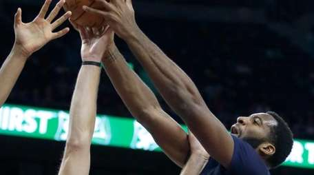 Detroit Pistons' Andre Drummond (0) grabs a rebound