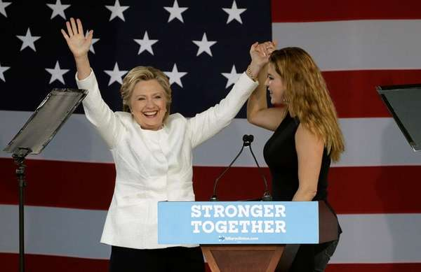 Hillary Clinton and former Miss Universe Alicia Machado