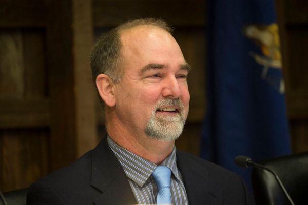 East Hampton Town councilman Peter Van Scoyoc speaks