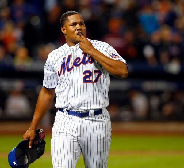 Jeurys Familia of the New York Mets walks