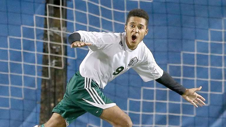 Carle Place's Stephen Padilla gets the winning penalty