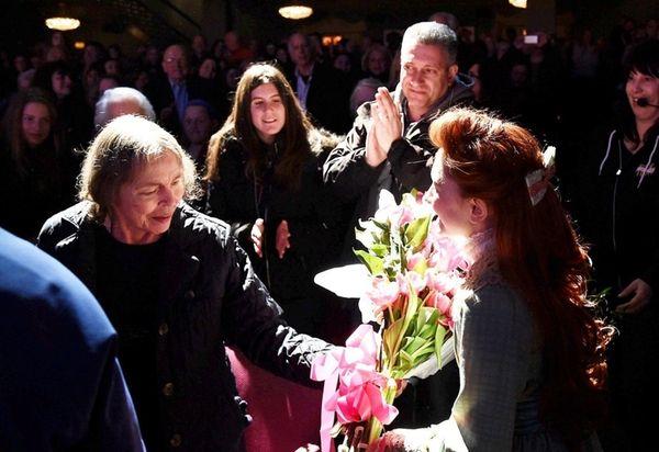 Author Natalie Babbitt (C) visits Broadway's
