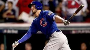 Kris Bryant #17 of the Chicago Cubs hits