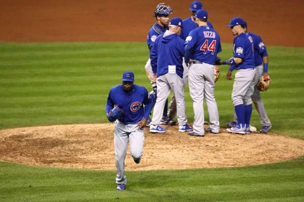 Aroldis Chapman #54 of the Chicago Cubs leaves