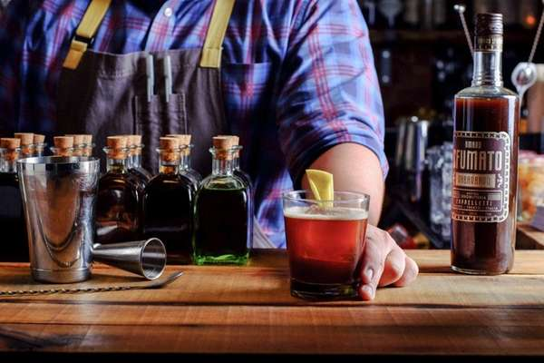 Beverage director Doug Brickel, 30, presents the
