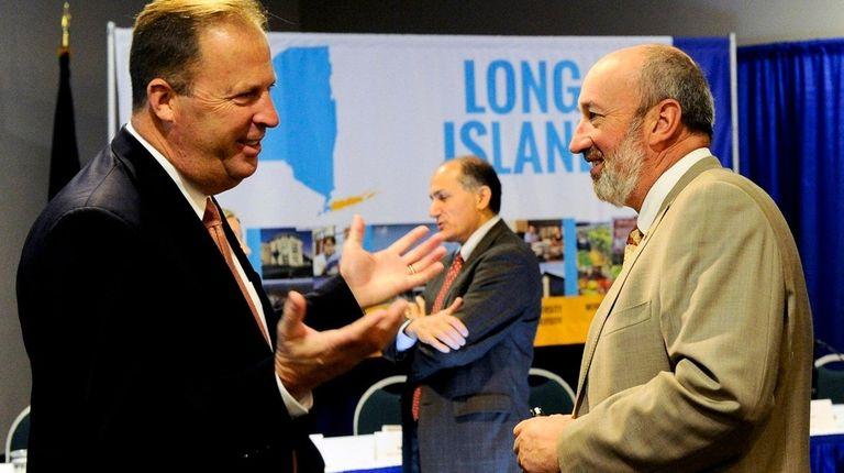 Kevin Law, left, Peter Cavallaro, mayor of Westbury,