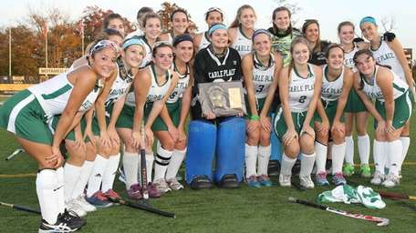 Carle Place celebrates their win during the Nassau
