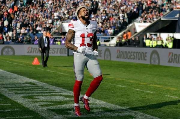 New York Giants' wide receiver Odell Beckham shows