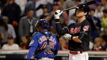 Cleveland Indians' Tyler Naquin reacts after striking out