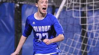 Ryan Hilke of Calhoun reacts after his goal