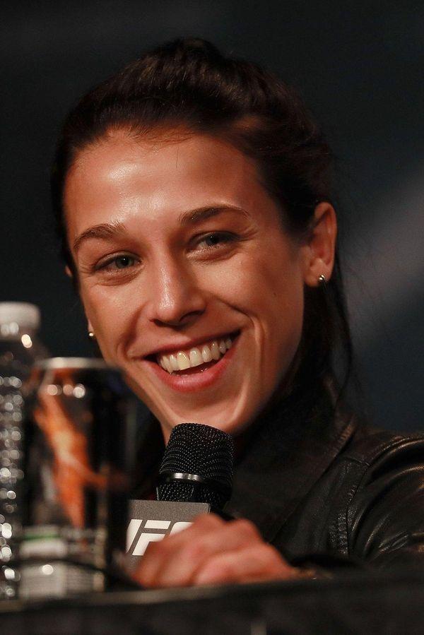 Joanna Jedrzejczyk addresses the media during the UFC