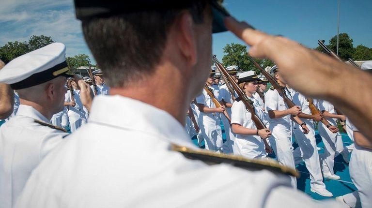 U.S. Merchant Marine Academy plebes pass in review