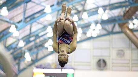 Camille Roberts from Cold Spring harbor competes at