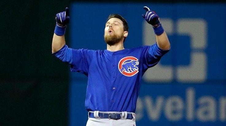 Chicago Cubs' Ben Zobrist celebrates his RBI double