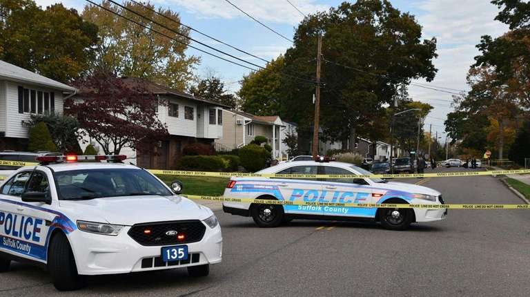 Suffolk police investigate at an Old Country Road