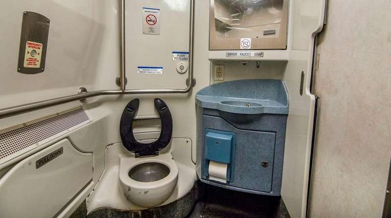 The bathroom on a current Long Island Rail