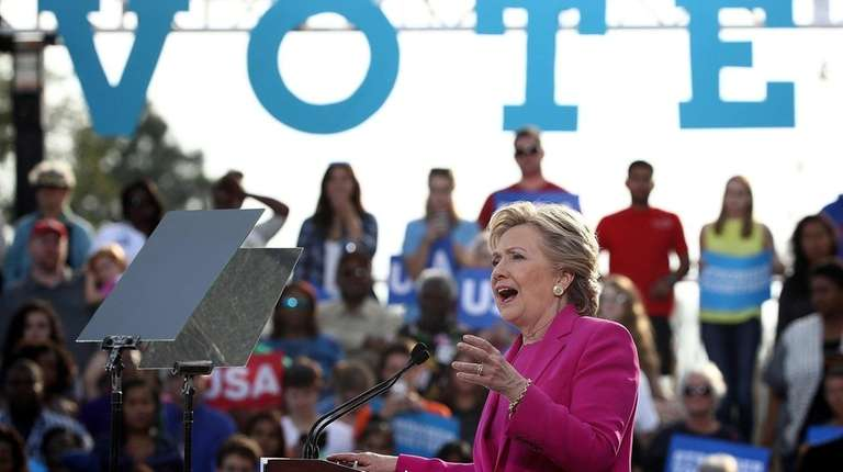 Hillary Clinton campaigns at a Get Out the