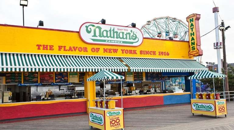Coney Island boardwalk location for Nathan's Famous. The