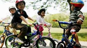 Children have fun on the bike trails at