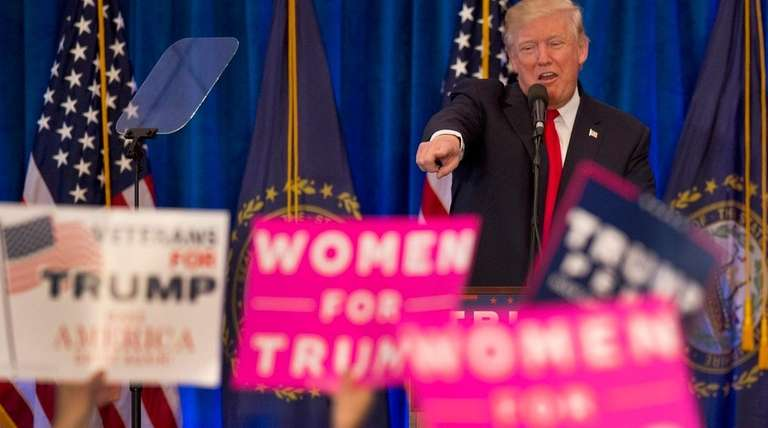 Republican presidential candidate Donald Trump acknowledges supporters during