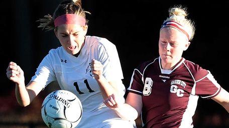 Garden City's Kate Farrell (8) kicks the ball