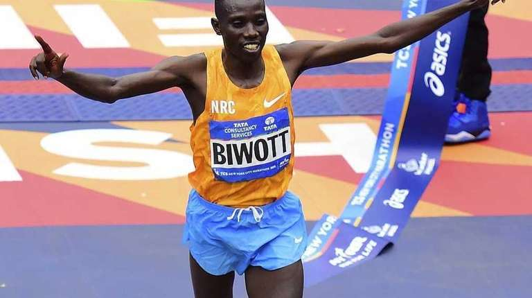 Stanley Biwott of Kenya wins the New York