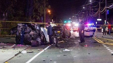 Nassau County police investigate the scene of a