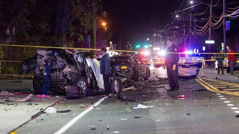 A multicar crash Friday night, Nov. 4, 2016,