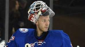 New York Rangers goalie Antti Raanta looks on