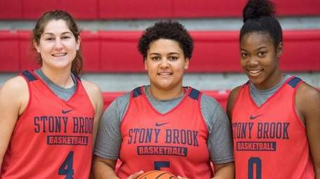 Stony Brook women's basketball players Christa Scognamiglio (4),