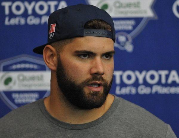 Giants lineman Justin Pugh speaks to the media.