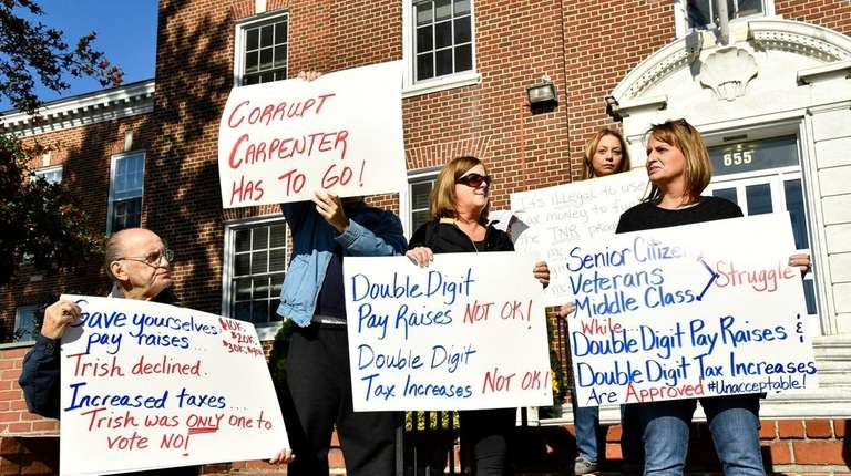 Islip Town residents protest outside town hall on