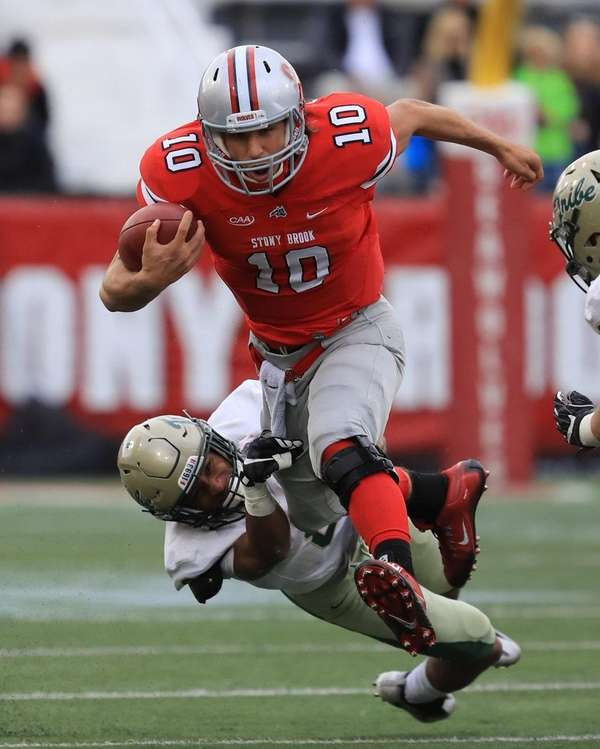 Stony Brook quarterback Joe Carbone #10 rushes with