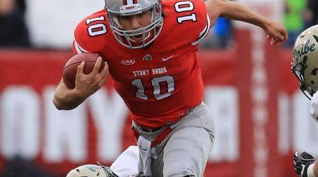 Stony Brook quarterback Joe Carbone #10 rushes with