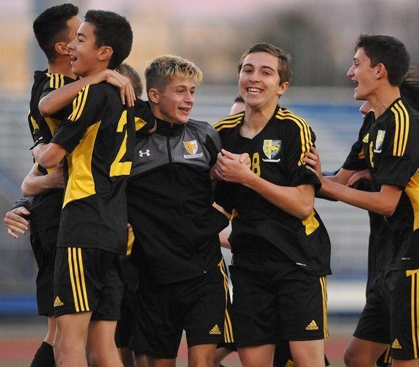 Hastings varsity boys soccer teammates celebrate after their