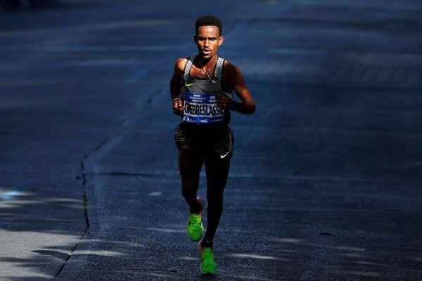 Ghirmay Ghebreslassie, of Eritrea, leads the elite men's